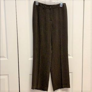 Ann Taylor Long Dress Pants Size 2 Brown Pinstripe